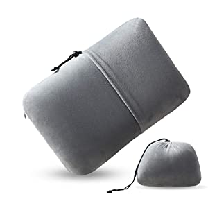 Sooft Bedding Portable Memory Foam Travel Pillow Camping Sleeping Pillow Back Cushion with Removable & Washable Cover for Backpacking, Airplane or Car Travel,Grey
