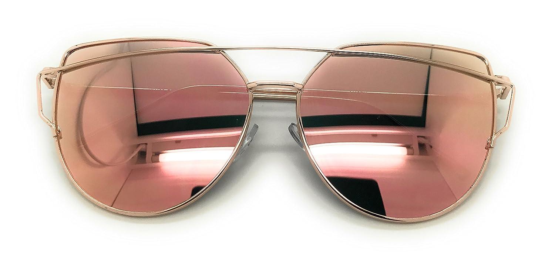 MyUV Oversized Cat Eye Mirrored Flat Lenses Street Fashion Metal Frame Sunglasses
