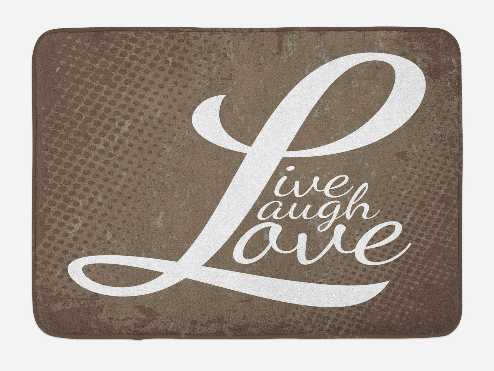 Ambesonne Live Laugh Love Bath Mat, Words Live Laugh Love on Halftone Worn out Style Background, Plush Bathroom Decor Mat with Non Slip Backing, 29.5 W X 17.5 W Inches, Brown White Pale Brown