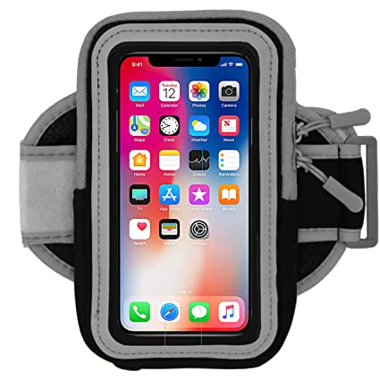 buy online 8f4d8 a8694 Cell Phone Armband for Running, Exercise - Workout Phone Holder with  Adjustable Arm Band, Zipper Pocket - Universal Armband for iPhone X, 8, 7,  6, ...