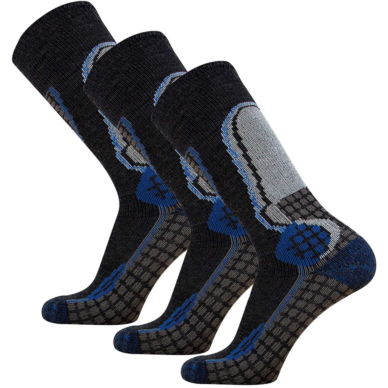 Junior High Performance Ski Socks – Children OTC Warm Snowboard, Skiing Socks Boys, Girls (S/M, Black/Blue, 3PK)