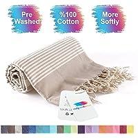 realgrandbazaar Turkish Towel Beach Towel%100 Cotton - Pre Washed, Softly 37 x 64 Oversized Beach, Pestemal, Peshtemal, Hammam, Spa, Large Bath Towels, Super Soft Towels (Beige)