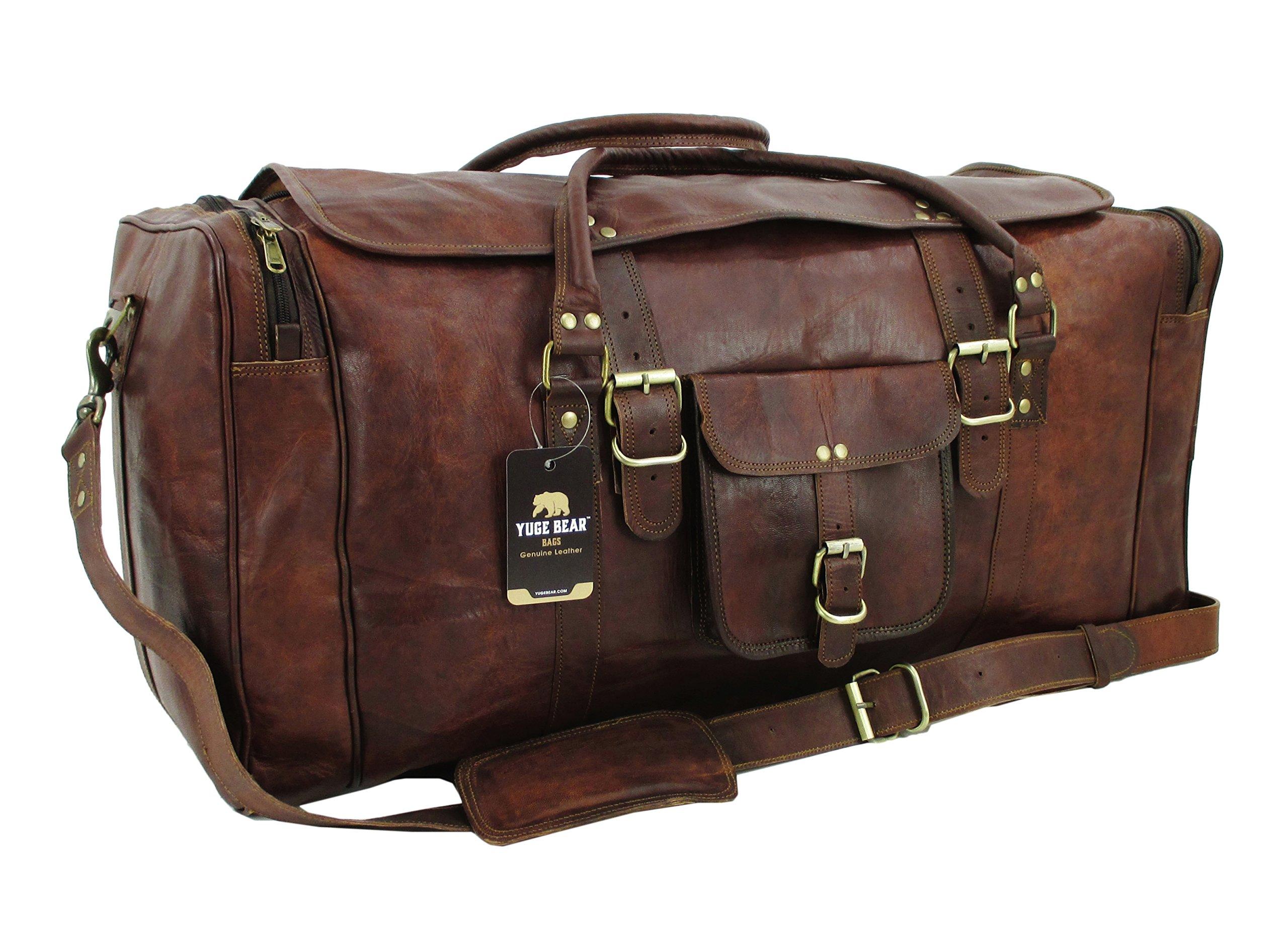 Yuge Bear 28'' FS3 Vintage Genuine Leather Extra Large Duffel Weekender Gym Bag