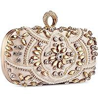 Bolso de Fiesta Pequeña Elegante Noche Diamantes de imitación Clutch Monedero del Banquete Bolso de Boda Cocktail,Dorado