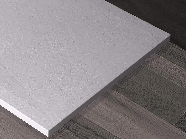 en marbre avec r/ésine gelcoat couleur blanche 70x80 Blanc Essence ArredoBagno Ardesia effet pierre avec grille en acier inoxydable Receveur de douche en marbre min/éral