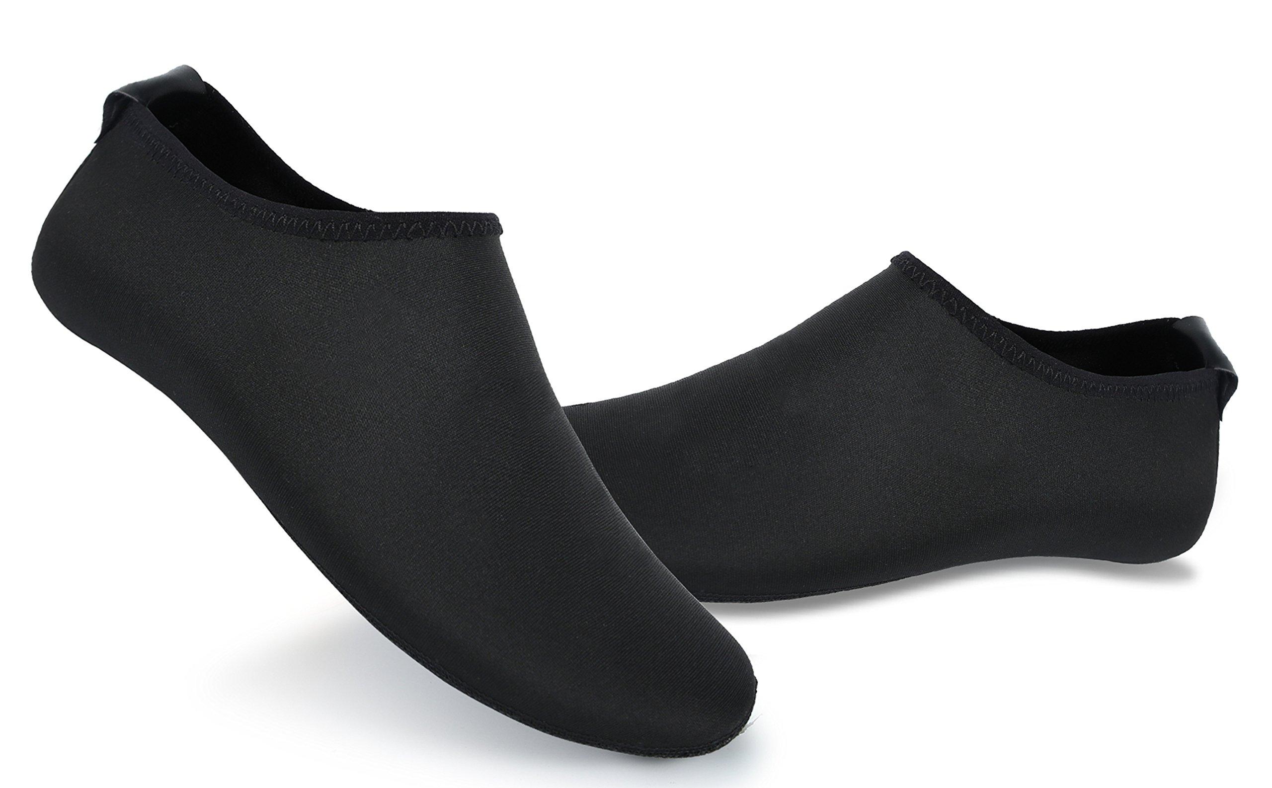 UNN Yoga Socks Water shoes for Women Slip-on Anti-Skid Barefoot Barre Pilates Ballet Maternity Indoor Slipper all black-L