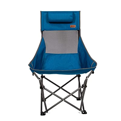 MacSports XP High-Back Folding Camping Chair | Outdoor Back/Lumbar Support, Lightweight (Weighs Under 6lbs), Heavy Duty (Supports 225lbs), for Camping Hiking Gaming Backpacking Sports Hunting | Blue: Kitchen & Dining