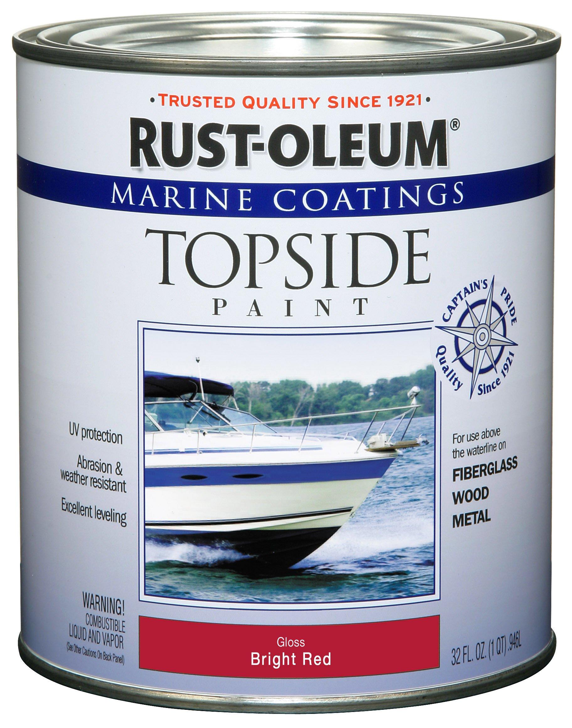 Rust-Oleum 207004 Marine Coatings Topside Paint, Quart, Bright Red
