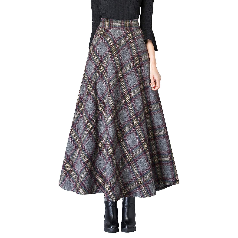 Qz122 Grey Nantersan Women's Winter Warm Flare Long Plaid Skirt Hairy High Elastic Waist Maxi Skirt Aline Plaid Skirts
