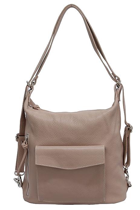 AMBRA Moda WL816 - Bolso mochila de Piel para mujer XL, color, talla XL: Amazon.es: Zapatos y complementos