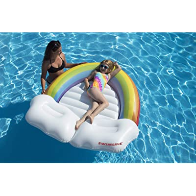Swimline Rainbow Island Pool Inflatable Ride-On, White: Toys & Games