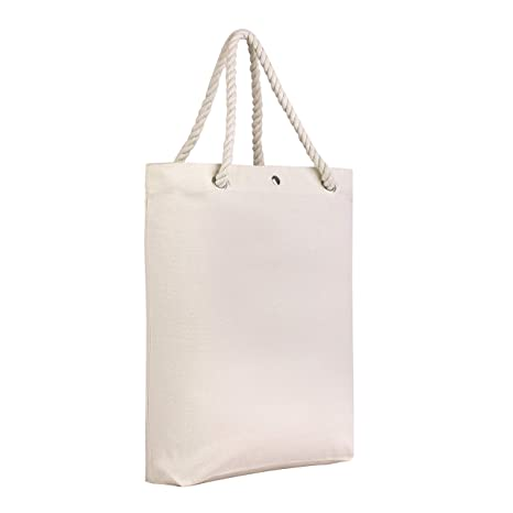 51f5382bc7cd8 Reusable Canvas Tote Bag Wholesale - with Stylish 21 Inch Rope Handles,  Inner Zipper Pocket