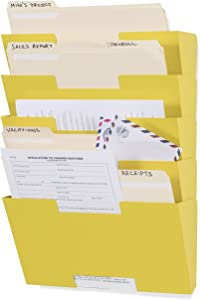 Wallniture Lisbon Metal Wall File Holder Organizer, 5-Tier Yellow Office Decor and Magazine Holder, File Folders Letter Size