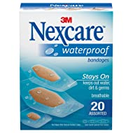 Nexcare Waterproof Clear Bandages, Seals Out Water, Dirt and Germs, Ultra-thin and Comfortable, Covers and Protects, Assorted Sizes, 20 Count