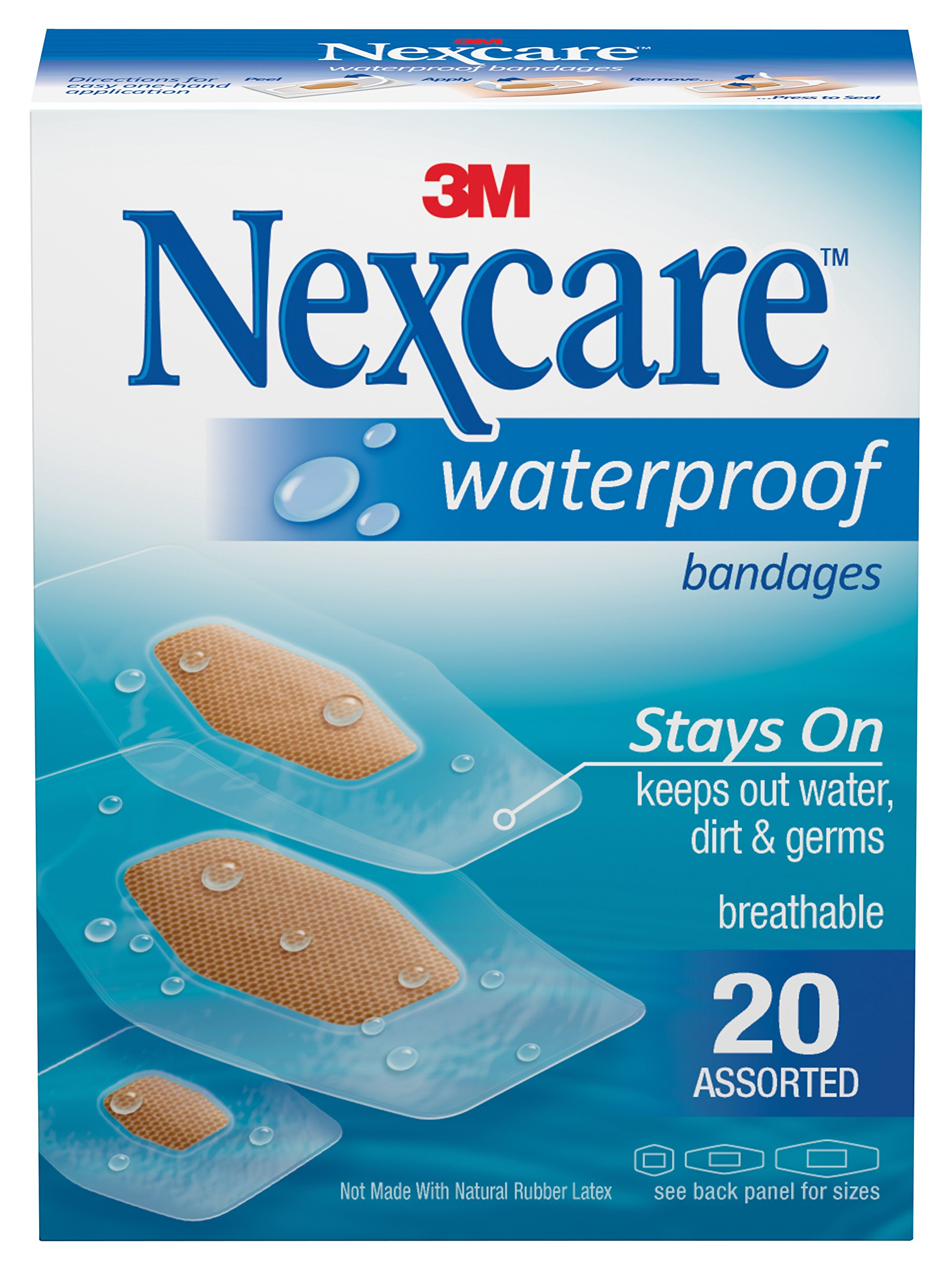 Nexcare Waterproof Clear Bandages, Dirtproof, Germproof, Ultra-thin and Comfortable, Assorted Sizes, 20 Count
