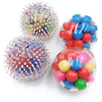 Squishy Rainbow Stress Ball Fidget Toy with DNA Colorful Beads Inside Relieve Stress Anxiety Hand Exercise Tool for Kids…