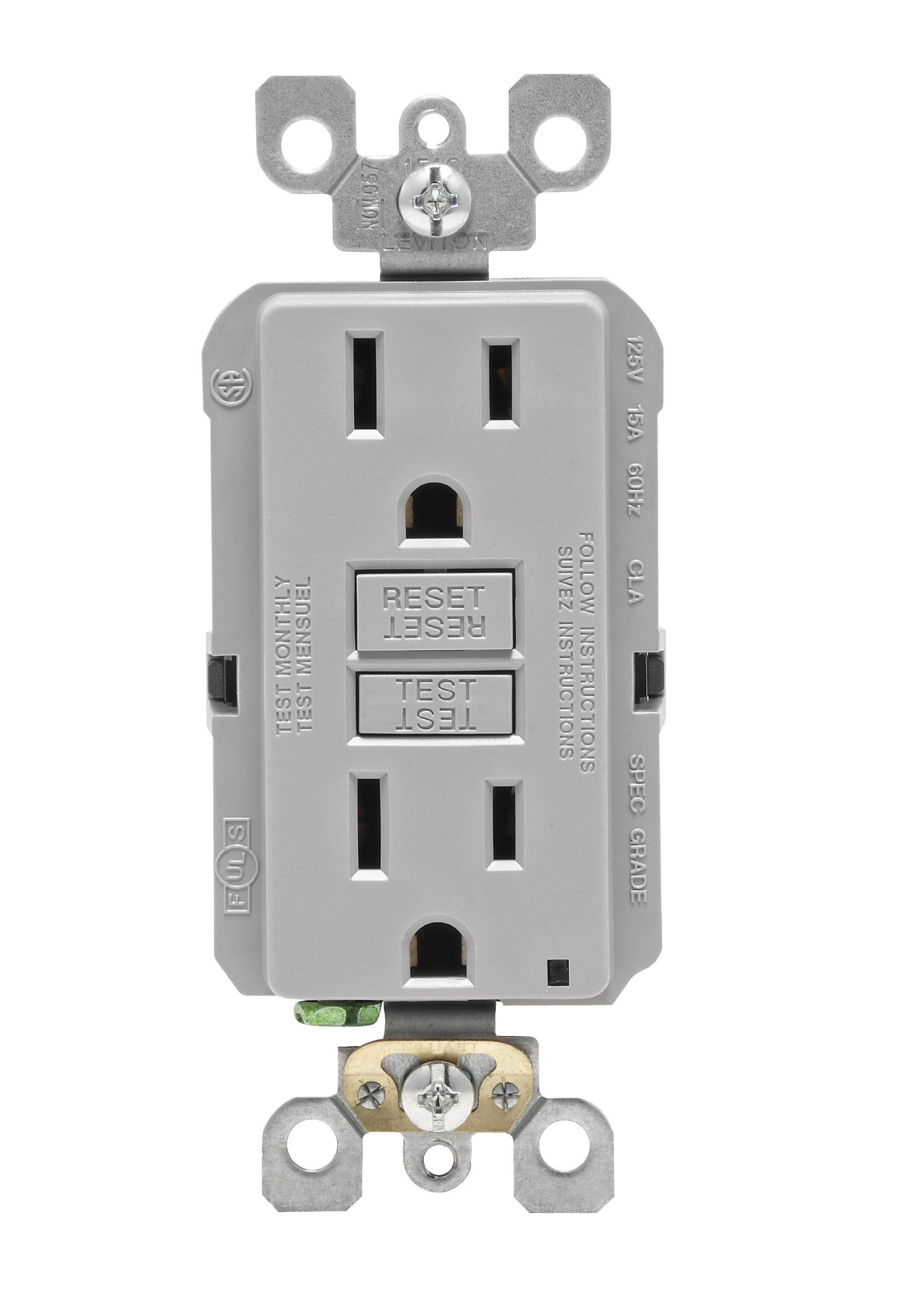 Leviton N7599-GY 15-Amp 125-volt Smart Lock Pro Slim Non-Tamper-Resistant Duplex GFCI Receptacle, Gray