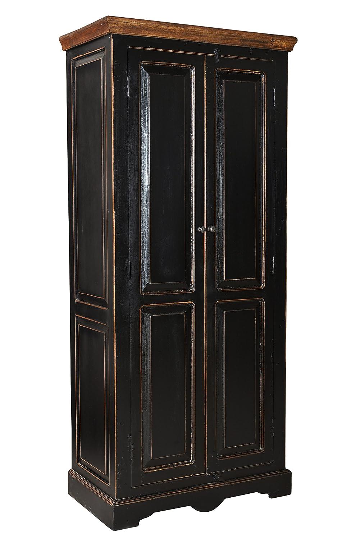 SIT-Möbel 5864-11 Schrank Corsica, 80 x 45 x 180 cm, Mango / MDF, schwarz mit honigfarbiger Deckplatte