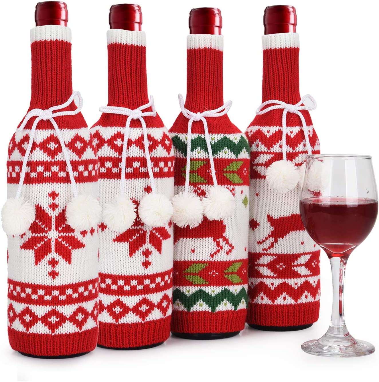 Handmade ChristmasTree Wine Bottle Beer Covers Bags Gift Bottle Decoration New