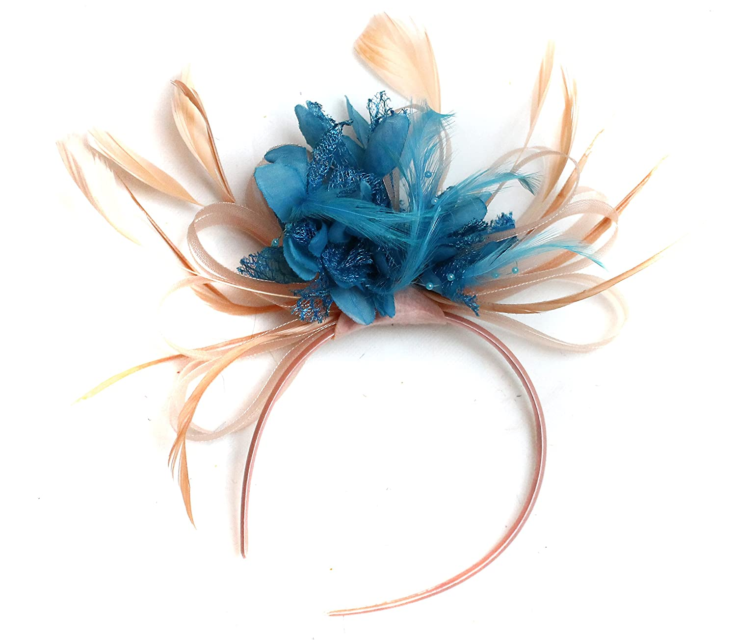 Amazon.com  All Nude Salmon Turquoise Feather Hair Fascinator Headband  Wedding Royal Ascot Races Ladies  Clothing 2c7541e637f