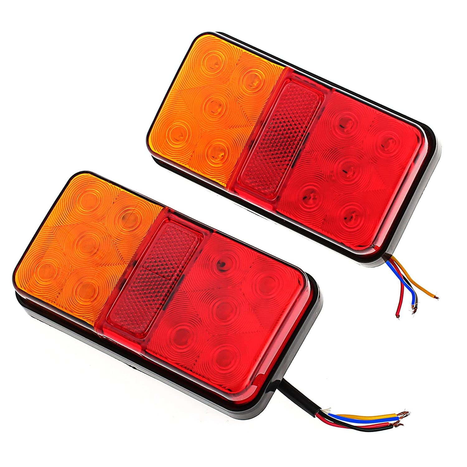 Justech 2 X 12V Van Truck Trailer Lorry 40 LED Rear Tail Stop Light Lamp Indicator E11 MY084-J