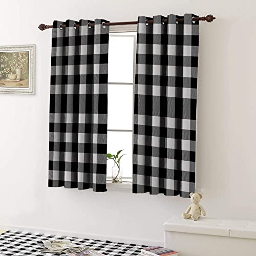 1GShophome Room Darkening Curtains Lumberjack Plaid Scottish Pattern