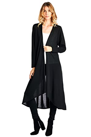 12 Ami Basic Knit Solid Long Sleeve Maxi Cardigan (S-3X) - Made In ...