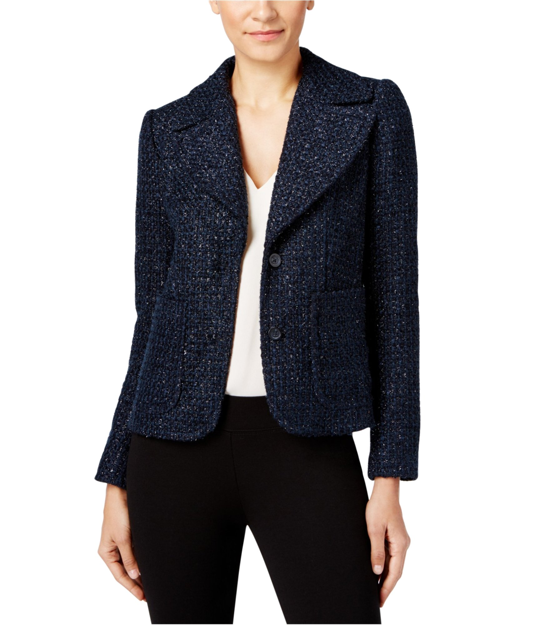 Michael Kors Womens Tweed Shrunken Two Button Blazer Jacket NEWNAVY 10P - Petite