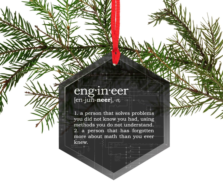Amazoncom Engineer Definition Funny Glass Christmas Ornament