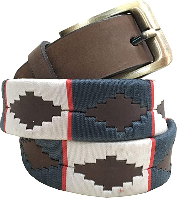 Carlos Diaz Cinturón de polo argentino de cuero marrón bordado ...