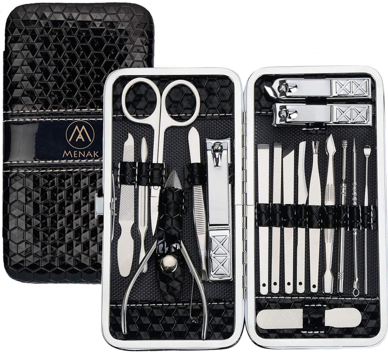 Nail Clippers Set Manicure Pedicure Kit - Stainless Steel 18 in 1 Portable Travel Grooming Kit-Facial and Nail Care Tools for Men and Women (Black)