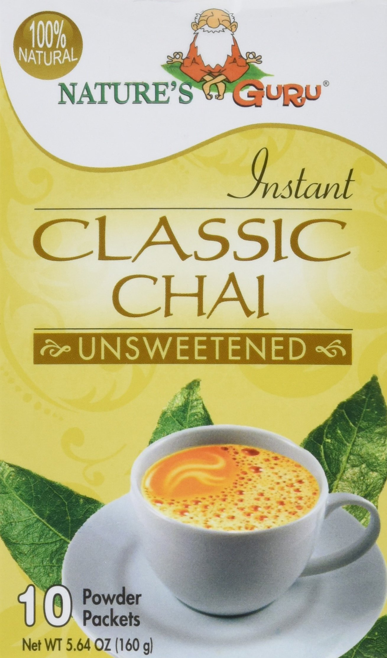 Nature's Guru Instant Classic Chai, Unsweetened, 10-Count (Pack of 1), Convenient On-the-Go Instant Hot Chai Mix in Single Serve Packets, All Natural, Just Add Hot Water and Stir