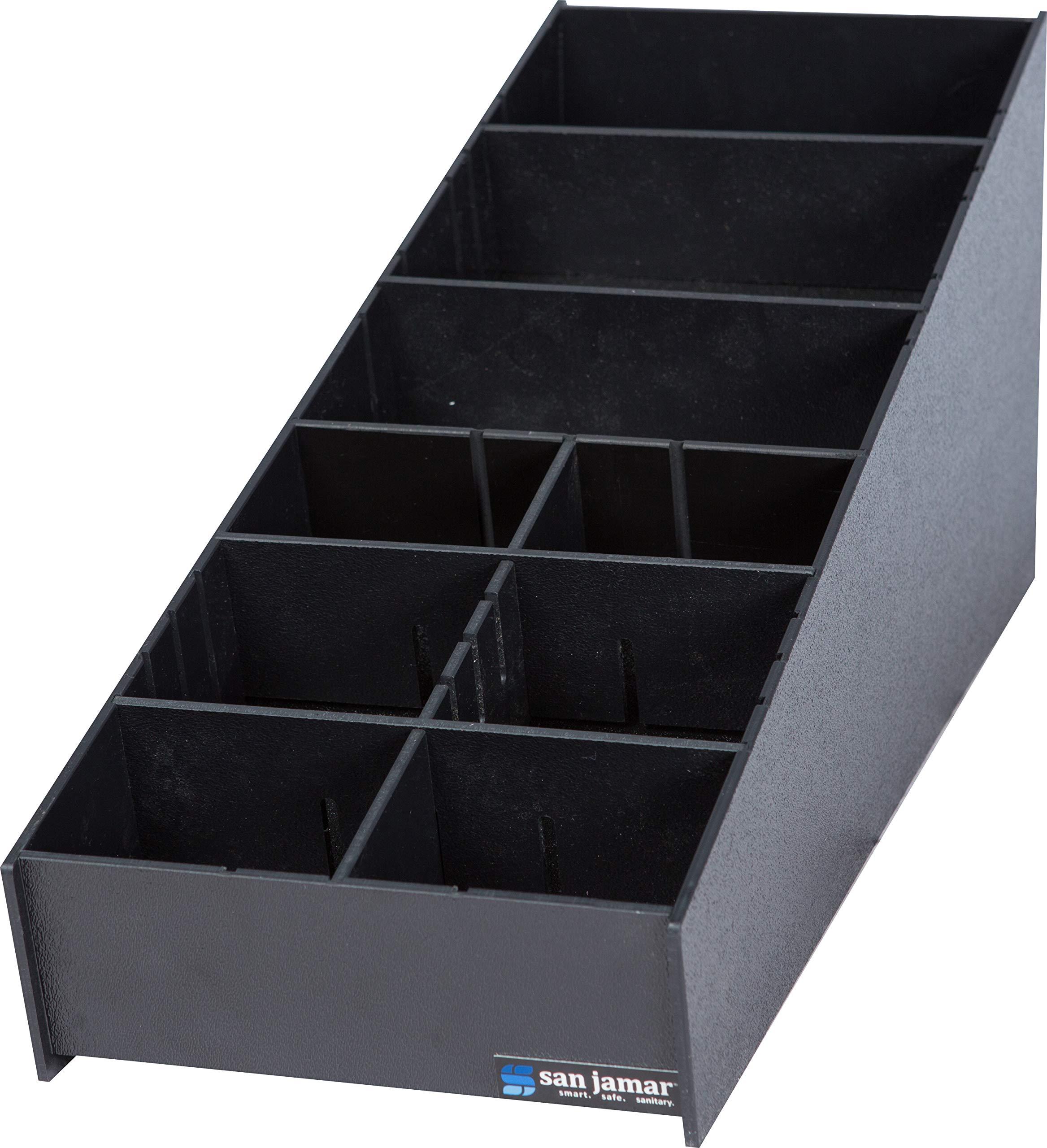 San Jamar L2900 Polystyrene Dimension Condiment and Straw Organizer, 8-3/16'' Width x 9-1/2'' Height x 25-1/16'' Depth, Black