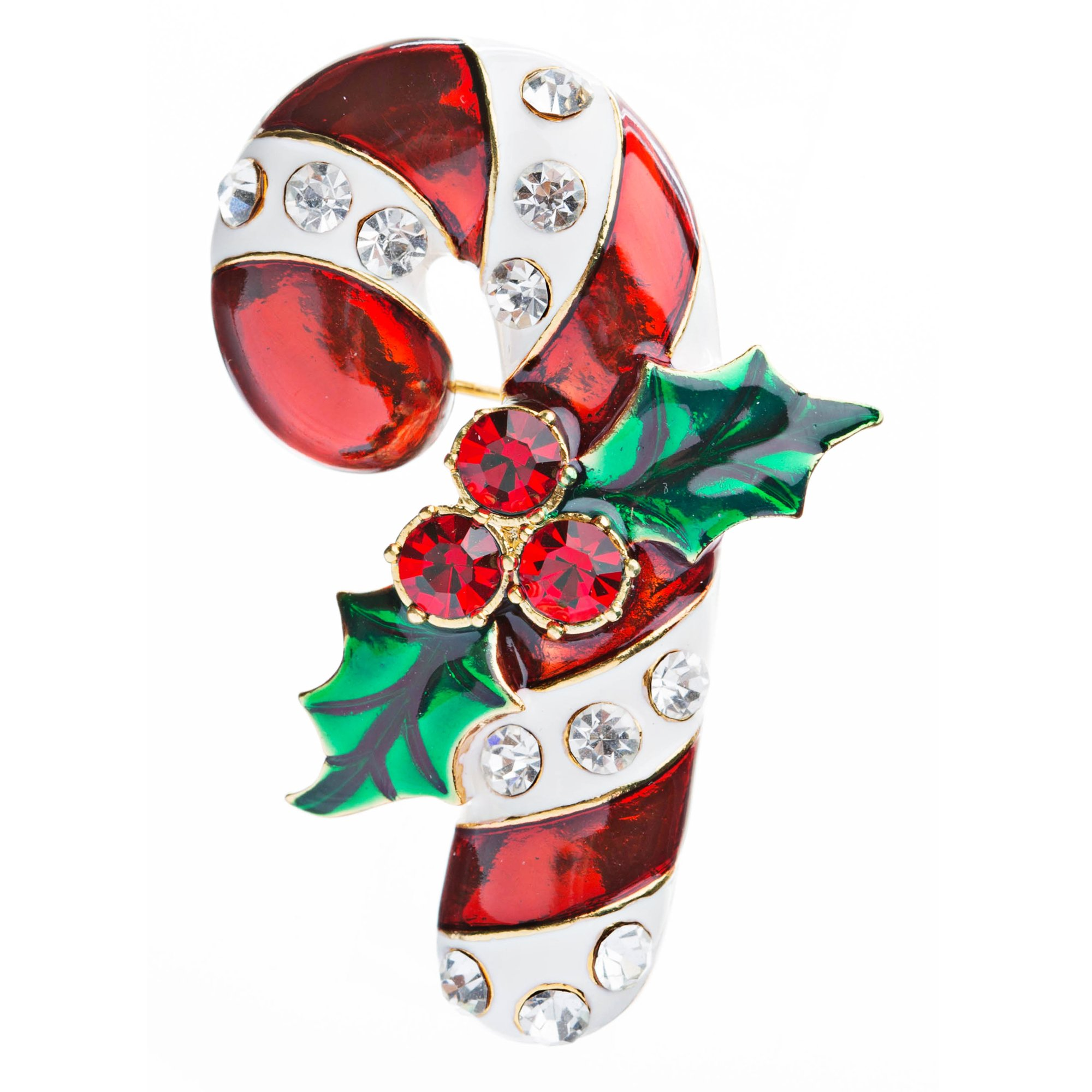 ACCESSORIESFOREVER Christmas Jewelry Crystal Rhinestone Beautiful Sparkle Candy Cane Brooch BH65