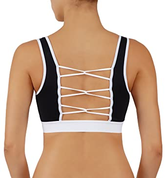 c2ffdc00e7 Vesi Star Women s Yoga Top Sports Bra Wirefree Removable Pads Strappy Loop Back  with Full Support High Impact at Amazon Women s Clothing store