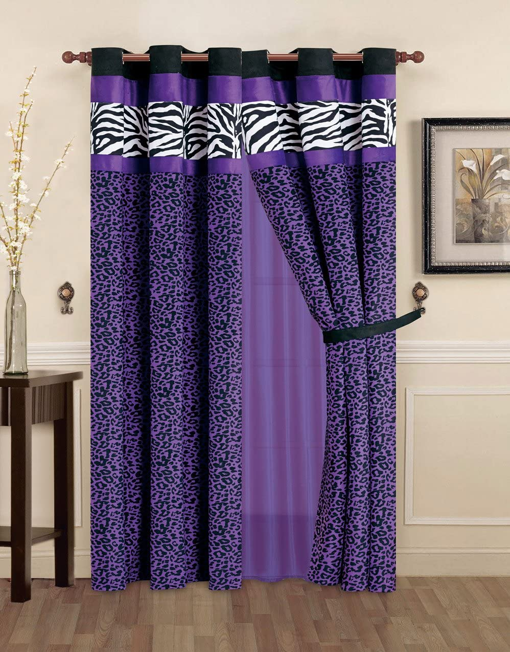 "4 - Piece Grommet Bright Purple Black White Zebra Leopard Micro Fur Curtain Set Drapes/Window Panels 108"" Wide X 84"" Tall"