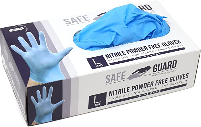 Safeguard Nitrile Disposable Gloves, Powder Free, Food Grade Gloves, Latex Free, 100 Pc. Dispenser Pack, Extra Large Size, Blue