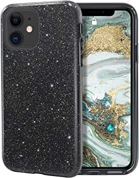 """Image ofCoovertify Funda Purpurina Brillante Negra iPhone 11, Carcasa Resistente de Gel Silicona con Brillo Negro para Apple iPhone 11 (6,1"""")"""