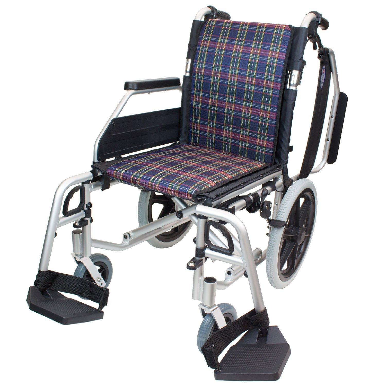 ケアテックジャパン 介助式アルミ製車椅子 CAH-62SU コンフォートプレミアム -介助式- (ネイビーチェック) B01MUD35O3 ネイビーチェック ネイビーチェック