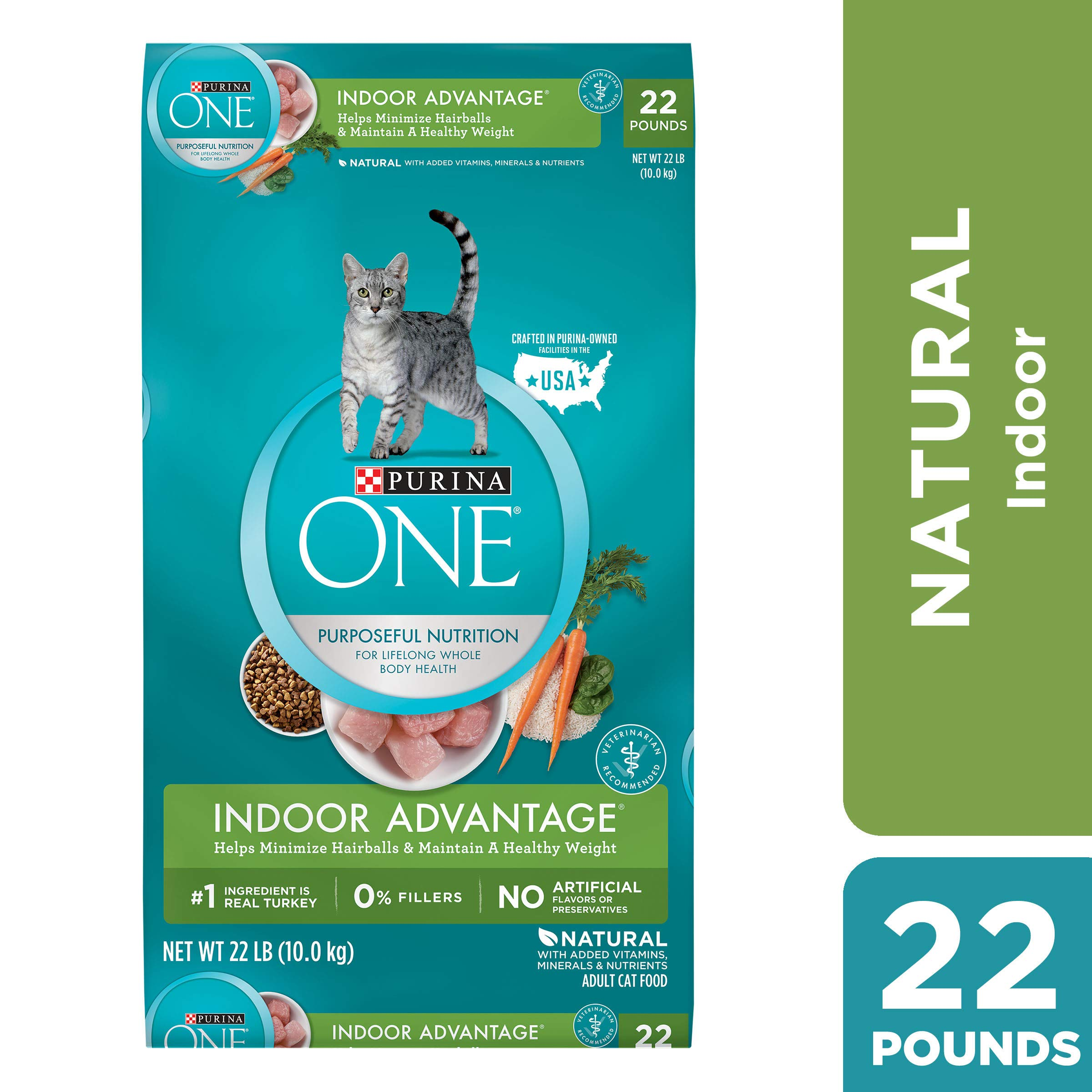 Purina ONE Hairball, Weight Control, Indoor, Natural Dry Cat Food, Indoor Advantage - 22 lb. Bag by Purina ONE