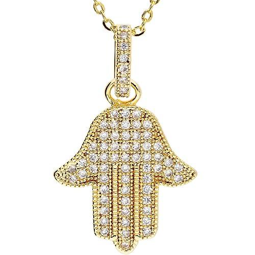 Mya tipo cadena collar Hamsa Mano de Fátima con muchos blancas Swarovski  Elements piedras colgante Acero Inoxidable Oro en oro para mujeres o niños  myagoket ... b302a9d820