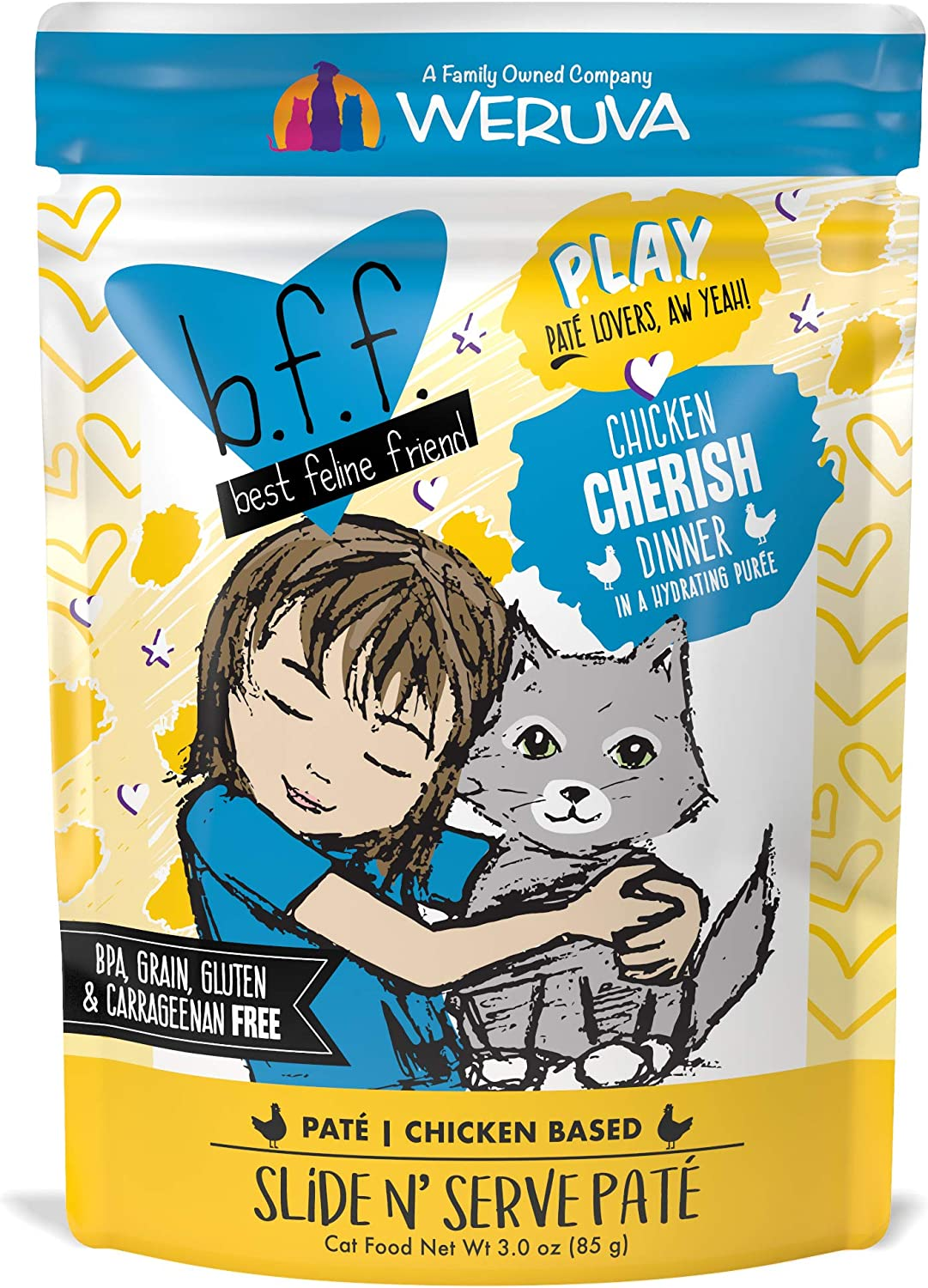 B.F.F. Play - Best Feline Friend Pate Lovers Aw Yeah! Grain-Free Natural Wet Cat Food Pouches