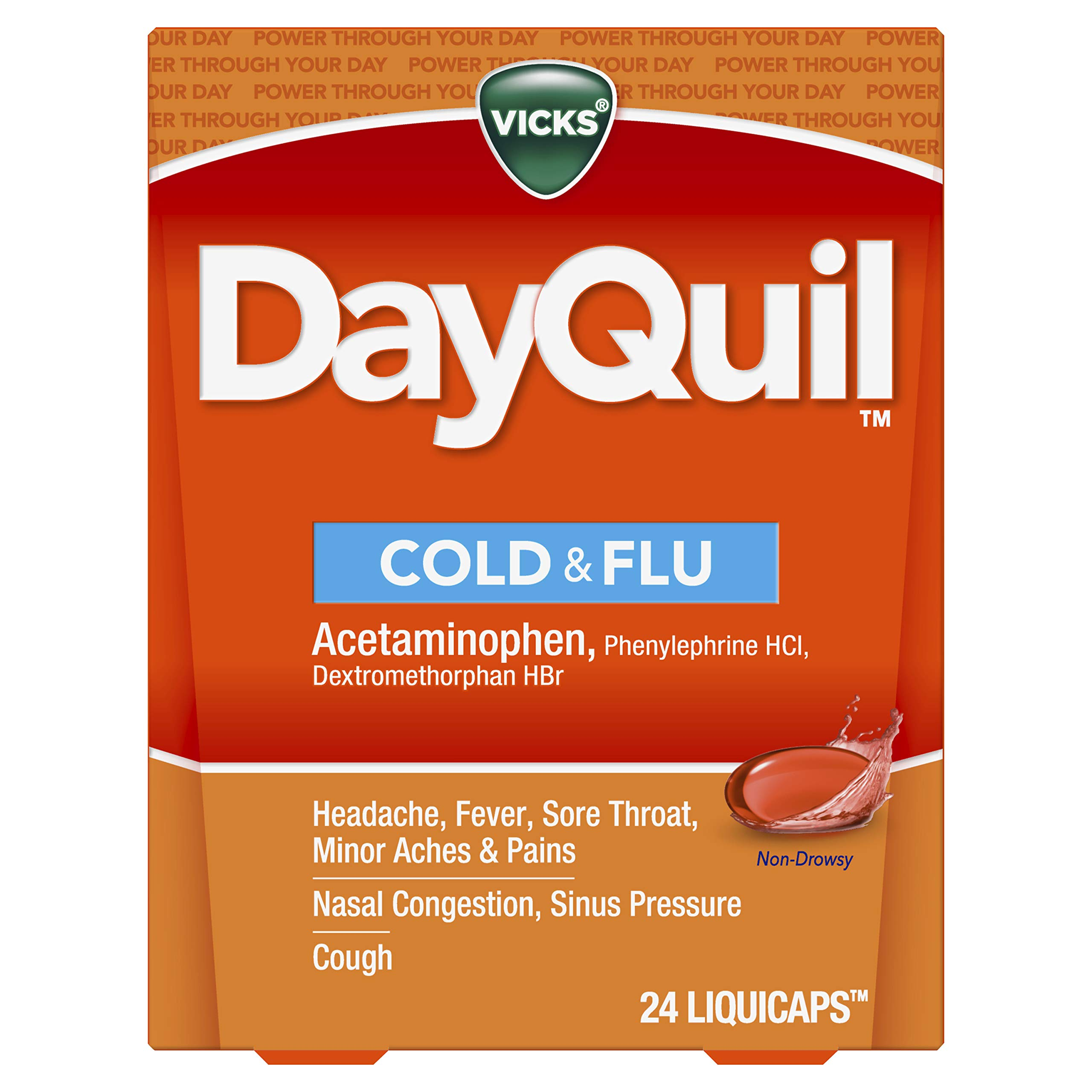 Vicks DayQuil LiquiCaps, Cough, Cold & Flu Relief, Sore Throat, Fever, & Congestion Relief, Non- Drowsy, 24 LiquiCaps