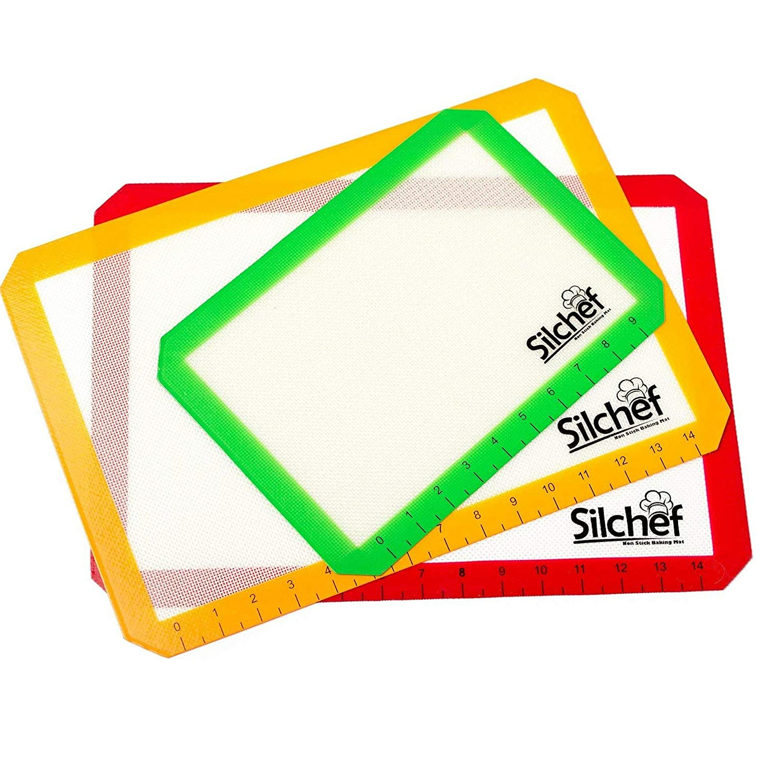 Silchef Silicone Baking Mat – 3 Pack Non Stick Baking Mats with Measurements, 2 Half Sheet Liners and 1 Quarter Sheet Baking Mat, Professional Quality, Non Toxic and FDA Approved