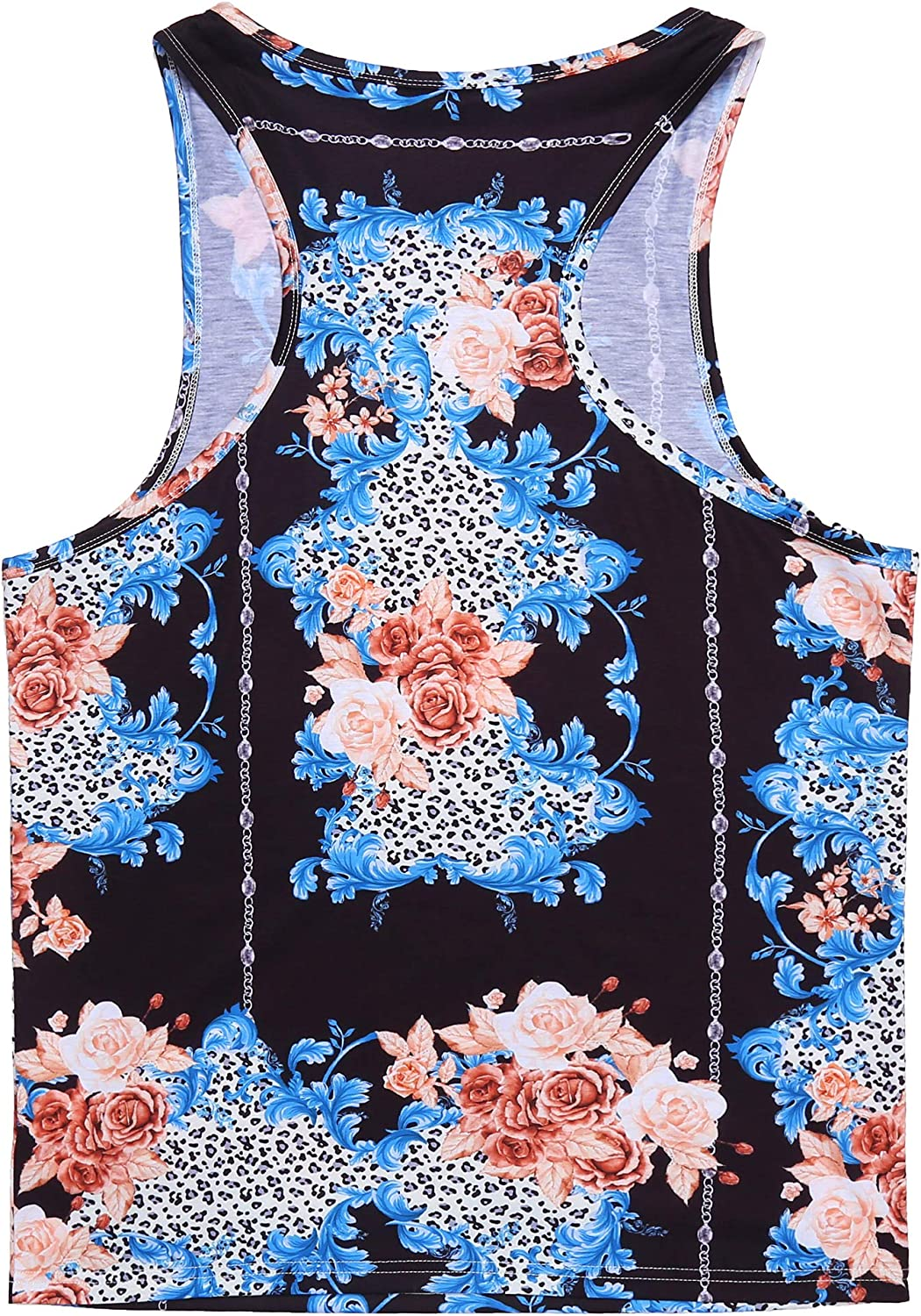 COOFANDY Mens Floral Tank Top Sleeveless Tees All Over Print Casual Sport Gym T-Shirts Hawaii Beach Vacation