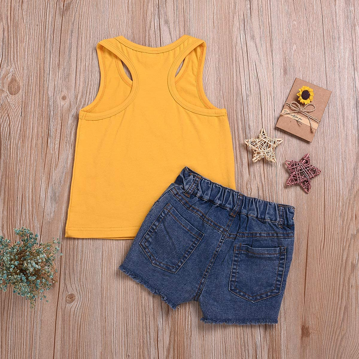 Jurebecia Newborn Infant Baby Girl Clothes Letter Print Sleeveless Tops Denim Short Pant Summer Outfit Set