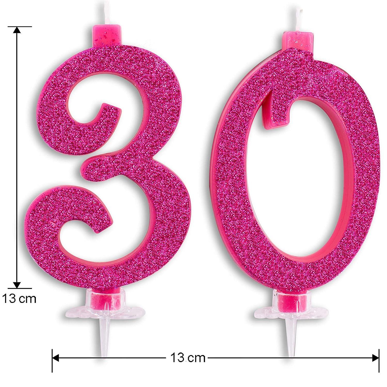 Velas Maxi de 30 años para Tarta, Fiesta de cumpleaños, 30 años, decoración de Velas de cumpleaños, Tarta de 30, Fiesta temática, Altura de 13 cm, ...