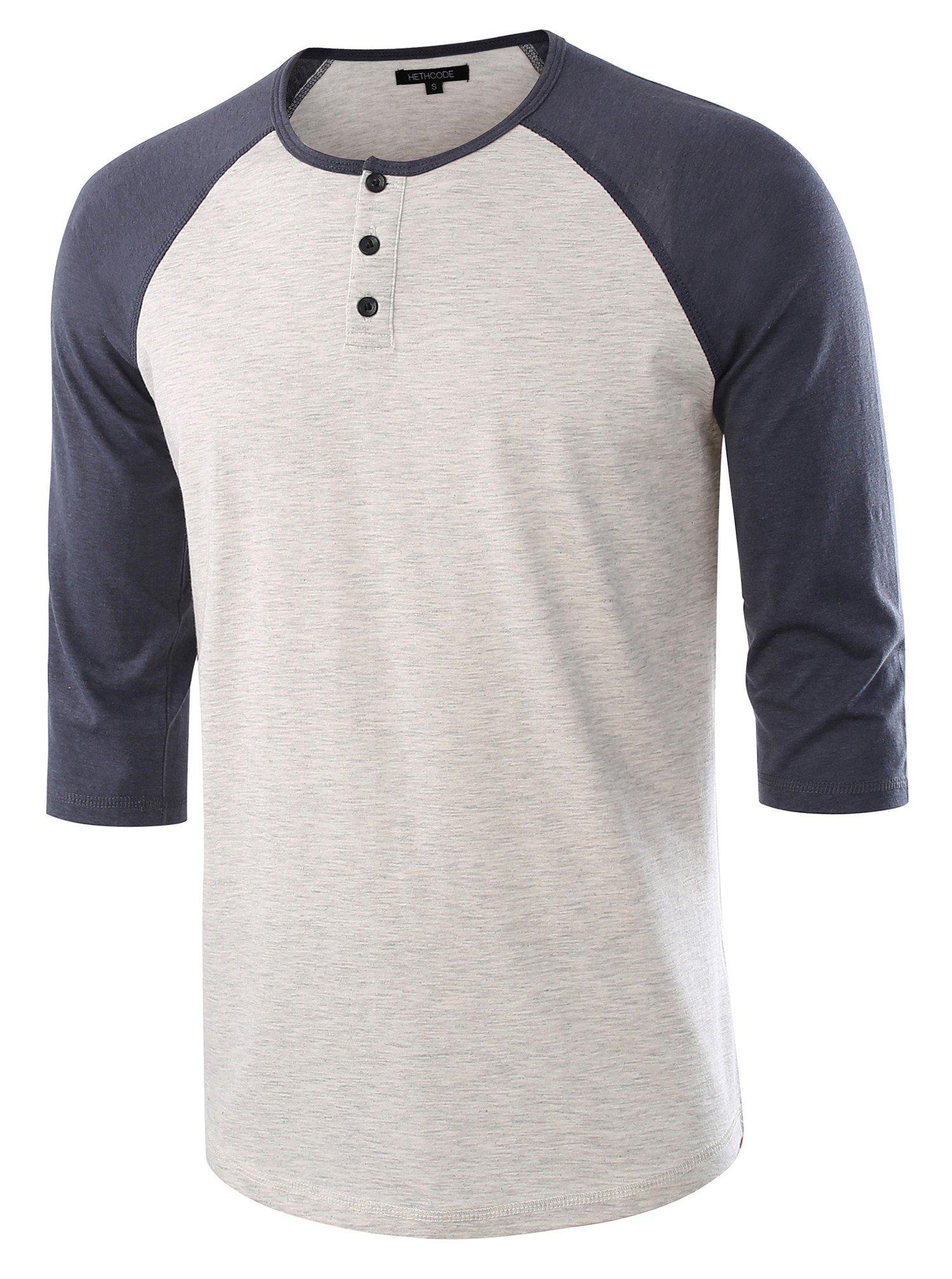 HETHCODE Men's Casual Raglan Fit Soft Baseball 3/4 Sleeve Henley T-Shirts Tee H.Oatmeal/C.Blue L by HETHCODE