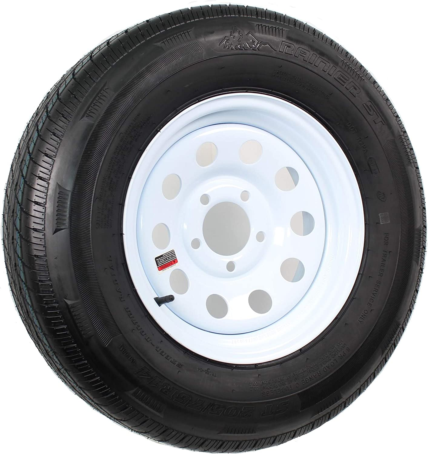 Kenda 14in. Radial Trailer Tire and Wheel Assembly - ST205/75R-14, 5-Hole, Load Range C, Model Number DM205R4C-5MI