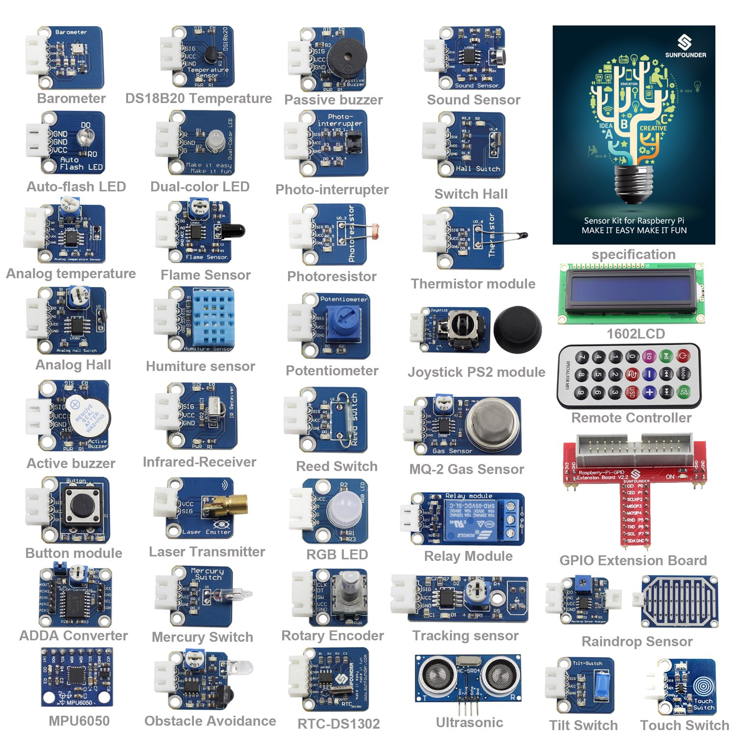SunFounder 37 Modules Sensor Kit V2.0 for Raspberry Pi RPi 1 Model B, 26-Pin GPIO Extension Board Jump wires